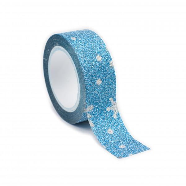 Adhésif pailleté flocons bleus