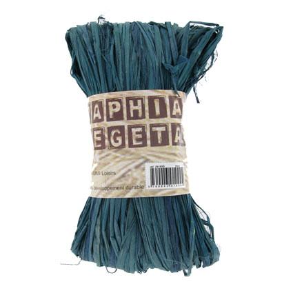 Raphia végétal bleu